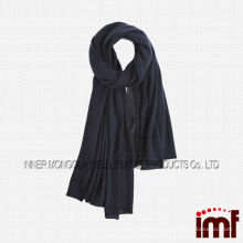 Solid Black Authentic Soft Cashmere Lady's Knit Scarf Shawls