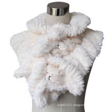 Lady Fashion Cotton Polyester Fur Knitted Shawl Scarf (YKY4365B-1)