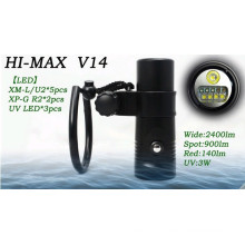 HI-MAX V14 with 5pc XM-L/U2, 2pc XP-G R2, 3pc UV LED, 2400lm Wide, 900lm Spot, 140lm Red, 3W uv led 365nm underwater video light