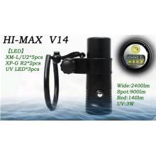 HI-MAX V14 с 5-кратным XM-L / U2, 2-кратным XP-G R2, 3-кратным ультрафиолетовым светодиодом, 2400lm широким, 900lm пятном, 140lm красным, 3W UV светодиодным 365nm подводным видео свет