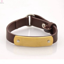 2017 Custom Stainless Steel Leather Bracelet For Mens