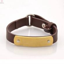 Bracelete de couro de aço inoxidável feito sob encomenda 2017 para homens