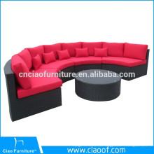 Синтетическая wicker напольная мебель наполовину вокруг ротанга сада диван для отдыха