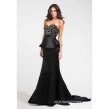 Beaded Bodice Peplum Bodice Evening Dress