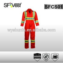 Reflective safety workwear orange coveralls ,poly-cotton conform to CSA Z96-09