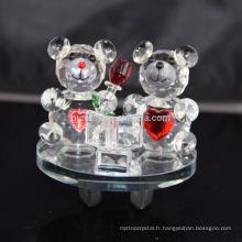 Gros beau nounours en cristal de K9 pour la décoration