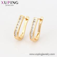 92294 Pendientes de huggie de estilo oro 18k con diseño de imitación barato en forma de oro de estilo simple para damas