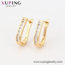92294 Latest design cheap imitation jewelry U shape simple style 18k gold color huggie earrings for ladies
