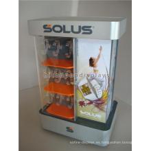 Novela de mesa de acrílico de marca de venta al por menor de publicidad de 2 vías Múltiples Spinning Watch Display Case