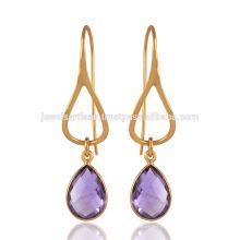 Plata esterlina con piedras preciosas de amatista plateadas de oro 18K en púrpura