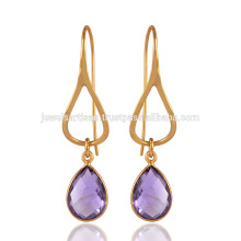 Sterling Silver with 18K Gold Plated Amethyst Gemstone in Purple