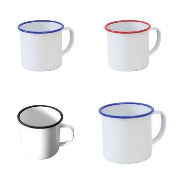 5/6/7/8/9/10/11 / 12mm Blanc émail thé tasse à café tasse camping pique-nique