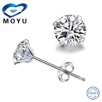 Joyería de plata de la joyería de la manera Venta al por mayor solo pendiente de piedra para la mujer