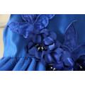 OEM bleu 100 pcs MOQ pour les filles à 3-12Y partie de l'école robes de soirée bleu foncé couleurs robes broderie commerce assurance en gros