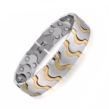 Novos homens de chegada magnética titanium pulseiras de cristal de aço inoxidável