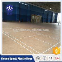 Yichen usine vente directe vinyle motif en bois antidérapant surface de plancher de badminton