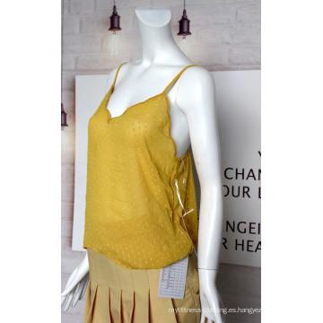 Venta caliente camiseta sin mangas de tela de flores cortadas