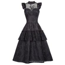 Belle Poque Vintage Retro Cap Manga de cuello alto Sheer Bodice negro vestido de encaje Swing BP000380-1
