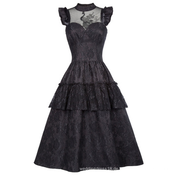 Belle Poque Retro Vintage Kappenhülse High-Neck Sheer Mieder Schwarzes Spitze Swing Kleid BP000380-1