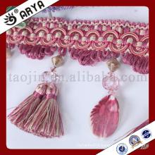 elegant fancy beaded tassel Fringe trim for Curtain decoration or other decoration