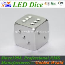Dados coloridos da liga de alumínio do CNC do diodo emissor de luz do controle dos dados do jogo MCU do padrão 19mm do branco