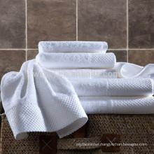 Luxury Hotel White Dobby Jacquard 100%Cotton Bath Towels Sets