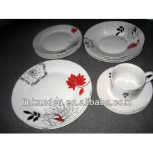 Haonai 20pcs elegant decal porcelain dinnerware sets
