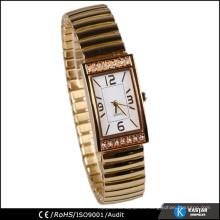 Rectángulo diamante caso oro reloj dama