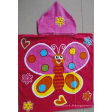 (BC-PB1017) Bonne qualité 100% coton imprimé poncho de plage pour enfants