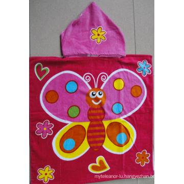 (BC-PB1017) Good Quality 100% Cotton Printed Cutely Kids Beach Poncho