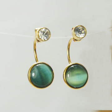 Green Glass Bead Earrings for Girls