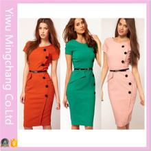 Atacado Europeu e American Style Button Moda Slimming Pencil Dress