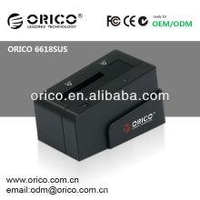 ORICO 6618SUS Station d'accueil multifonction en plastique externe 2.5 '' et 3.5''External pour disque dur SATA, capacité maximale jusqu'à 3TB