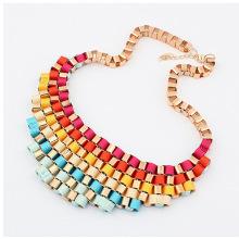 a colares gargantilha ouro caixa Cadeia fita colorida mulheres moda joia por atacado