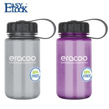 Botella de agua potable transparente de boca ancha con logotipo