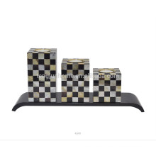 Sostenedor de vela del mosaico de la alta calidad con la cáscara de la pluma y MOP de oro