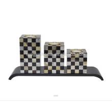 Titular de vela de mosaico de alta qualidade com shell de caneta e MOP dourado