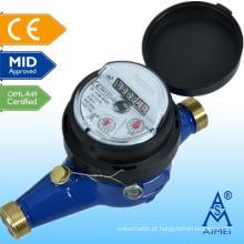 Medidor de água de bronze de tipo seco meados Certificated Multi Jet