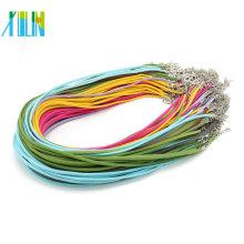 Cordón de cuero de gamuza color 2.6mm sin mezcla de mezcla con corchetes y extensores Collar de 19 pulgadas, 100 piezas / paquete, ZYN0005
