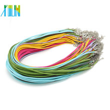 Nickel-Free Mix Color 2.6mm Suede Leather Cord with clasps and extenders Necklace 19inch, 100pcs/pack, ZYN0005