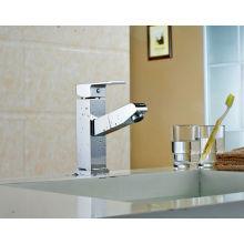 Q13004 Chrom - Grifo extensible de grifo para lavabo con base para montaje en cubierta, cromo extensible