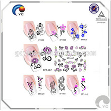 Transparent flower design nail tattoo stickers for decoration