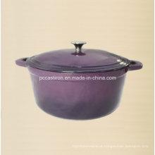 Esmalte de beringela Forno de ferro fundido holandês com botão de aço inoxidável