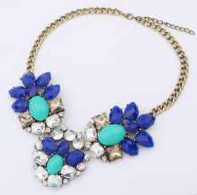 Supernova Sale Newest Women Semi-Precious resin Stones Fashion Crystal big flower Necklace & Pendants Brand Jewelry for women