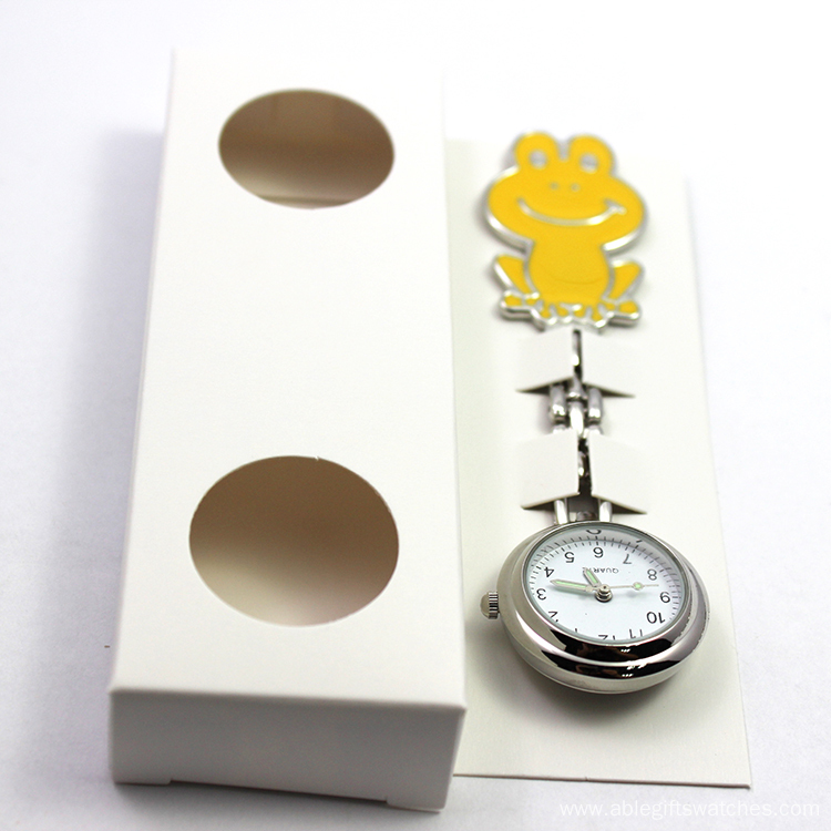 New Arrival Yellow Face Steel Nurse Brooch Watch