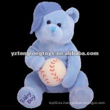 Juguetes lindos del oso azul de la felpa con la bola