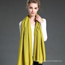 Mulheres no inverno para manter o lenço de lenço de poliéster amarelo puro