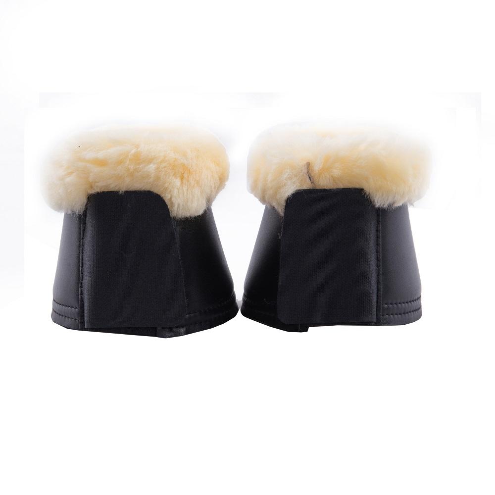 Sheepskin Horse Bell Boots Natural Black