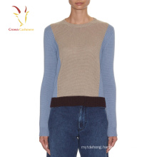 Lady Color Combination Jersey Sweater Lady Pullover Sweater