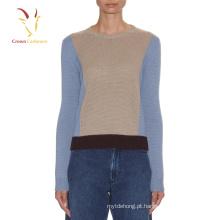 Senhora Cor Combinação Jersey Sweater Lady Pullover Sweater